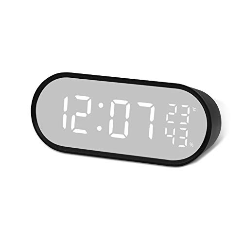 탁상 시계 디지털 시계 알람 시계 거울 기능 LED 대형 스크린 온도 습도계 탁상 시계 침대 시계 USB / 배터리 전원 시끄러운 다기능 (대화면/일반화면)