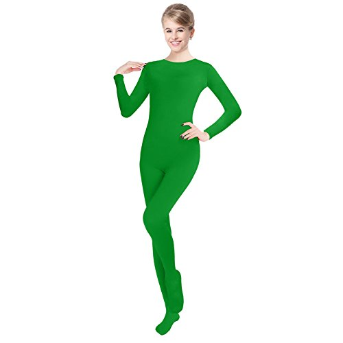 [Unisex Lycra Spandex Unitard Round Neck Long Sleeves Full Foot Elastane Bodysuit (M(5'1-5'5/110-132LB), Emerald Green)] (Adult Green Bodysuit)