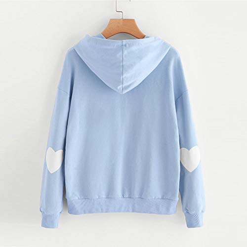 Coeur Chaud Manteau Grande Tops Pull Longues Sweat Hiver Blouse Solike Bleu Outwear Imprim Manches Capuche Fille Femme Tops Sweatshirt Automne Taille Chemise Txx8zAnw