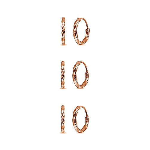 3 Pair Set Rose Gold Flashed Sterling Silver Twist Tiny Small 12mm Round Lightweight Unisex Endless Hoop Earrings