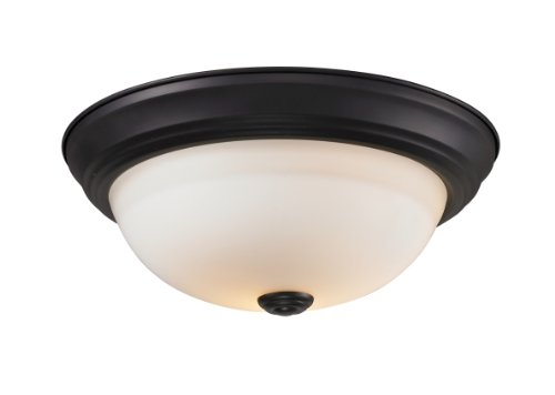 Z-Lite 2112F1 Athena One light ceiling, Steel Frame, Bronze Finish and Matte Opal Shade of Glass Material