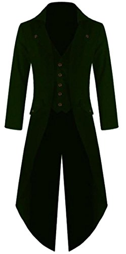 XQS Mens Casual Gothic Tailcoat Jacket Steampunk High Collar Coat 5