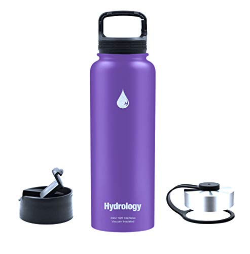 Hydrology - 40 oz with 3 LIDS Double Wall Vacuum Insulated Stainless Steel Hydro Sports Water Bottle Flask - Keeps Cold and HOT (Purple, 40 oz) (Hydro Flask Purple)