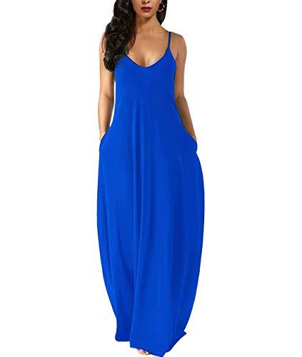 Zabrina Stores Womens Casual Sleeveless Plus Size Loose Plain Long Maxi Dress with Pocket Blue L