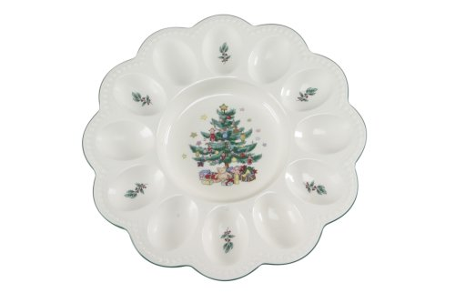 Nikko Christmas Giftware Deviled Egg Plate, 9.5