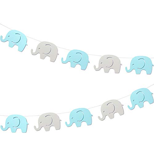 Blue Elephant Garland Baby Shower Decorations Baby Boy Elephant Banner Decorations Birthday Party Supplies Baby Nursery Decorations 10 Feet 17 pcs 4''Inch Elephant -