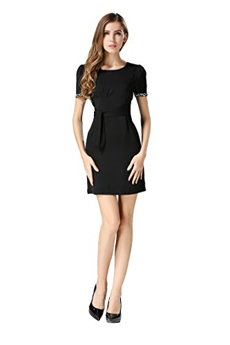 Beaded Short Dress Little Black Dress (Little Smily Women's Sheath Short Beaded Sleeve Bodycon Dress Wear To Work, Black, S)