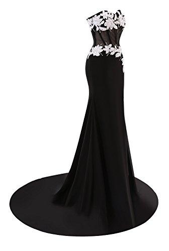Da Sposa Prom Sirena Appliques Donna Sera Abiti Fucsia Bess Perline Da 1OHq7wdf