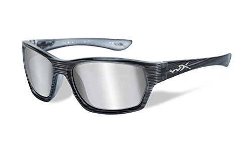 Wiley X Moxy Glasses Grey Silver Flash Lens: Black Streak Ss