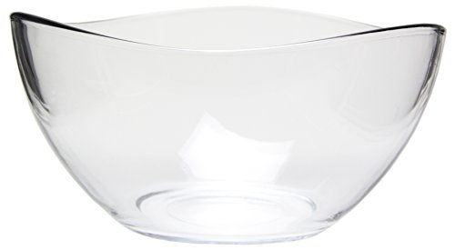 "Medium Clear Glass Wavy Serving Mixing Bowl, 4""H, 63.5 oz"