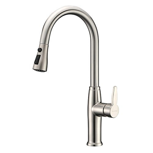 Kitchen Faucet Stainless Steel with Pull Out Sprayer Delle Rosa Single High Handle Located Pre-rinse Kitchen Sink Faucet Brushed (Nicke Kitchen)