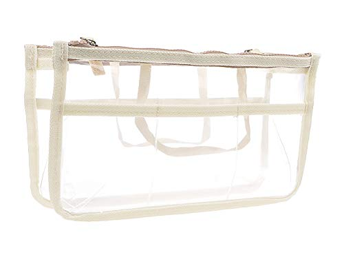 Vercord Clear Purse Handbag Tote Pocketbook Bag Organizer Insert with Zipper Handle for Women Beige Medium