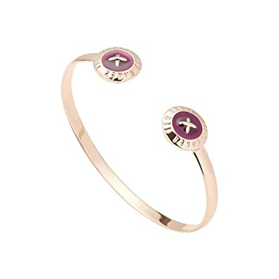1ae9cde10 TED BAKER - Eida  Enamel Double Button Cuff Rose Gold Plum  Amazon.co.uk   Jewellery