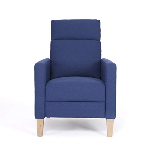 Christopher Knight Home 304834 Isla Recliner, Navy Blue + Natural