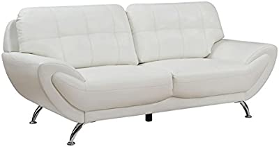 Furniture of America Wade Leather Tufted Sofa in White