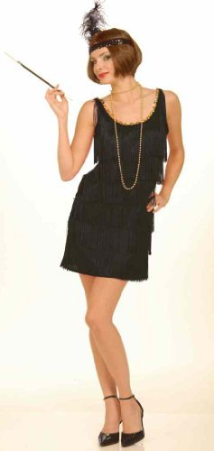 Forum Novelties Women's Flapper Costume Dress, Black, Medium/Large (fit 8 to 12)