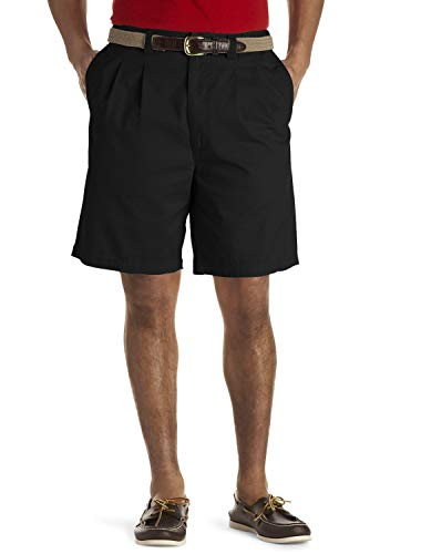 Harbor Bay by DXL Big and Tall Waist-Relaxer Pleated Twill Shorts, Black 52 Long