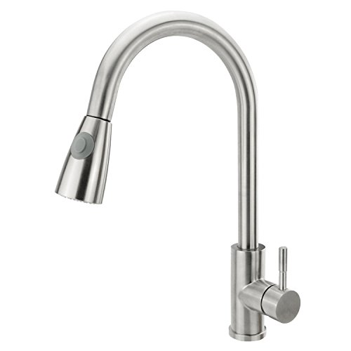 Neady Single Handle Pull Down Sprayer Kitchen Sink Faucet Stainless Steel Brushed Nickel Kitchen Faucets with Sprayer