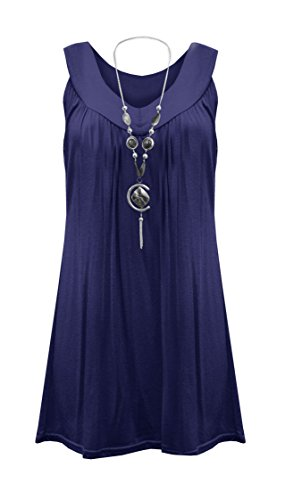 Womens Plus Size Necklace Ladies Tunic Sleeveless V Neck Tops Plus Size UK 10-41