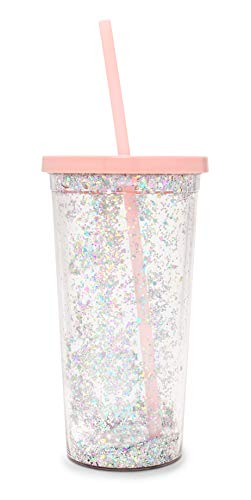 Ban.do Metallic Deluxe Sip Sip Insulated Tumbler With Reusable Silicone Straw, 20 Ounces, Glitter Bomb