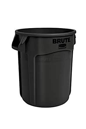 Rubbermaid Commercial Products 1926827 Brute Heavy-Duty Round Trash/Garbage Can, 10-Gallon, Black