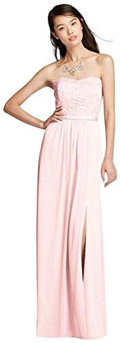 Lace and Mesh Long Strapless Bridesmaid Dress Style F18095, Petal, (Strapless Petal Dress)