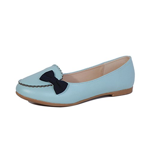 Women's Round Toe Flat Loafers Sweet Casual Shoes with Bow Blue - 3