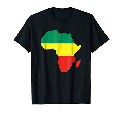 (Africa Reggae map T-shirt - African Rasta green yellow red )
