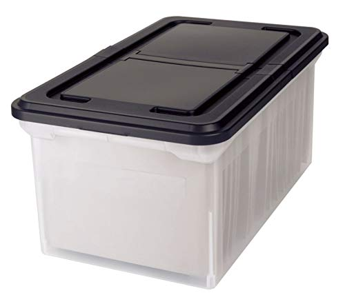 Office Depot Stackable File Tote Box, Letter Size, 14 1/4in. x 23 3/8in. x 10 7/8in, Black/Clear, 139732