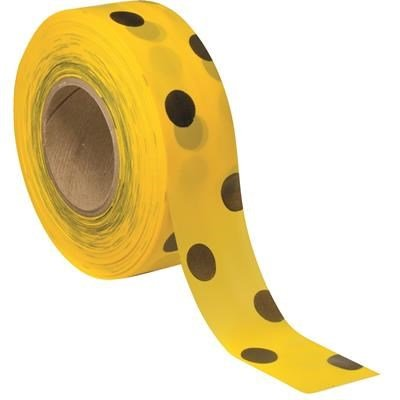 PRESCO Matte Polka-Dot Flagging Tape, Black on Yellow By Tabletop King ()
