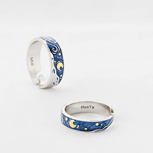 Thaya 925 Sterling Silver Van Gogh's Sky Couple Rings Bright Shining River/Bee Promise Rings Blue Open Band Ring Engagement Romantic Jewelry Ring Size 5-8 Jewelry Gift for Women and Girls