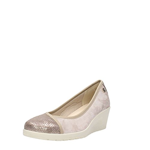 Enval soft 12572 Taupe Scarpa Donna Decolletè Con Zeppa Pelle Made in Italy Taupe