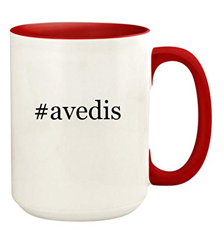 #avedis - 15oz Hashtag Ceramic Colored Handle and Inside Coffee Mug Cup, Red ()