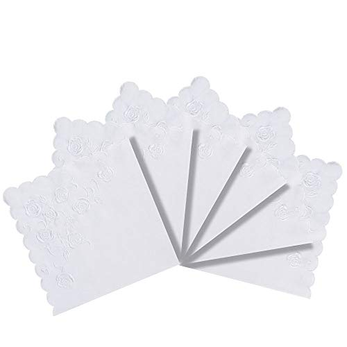 RICOSKY Bridal Wedding White Embroidery Handkerchief Pack of 6 Pieces by RICOSKY