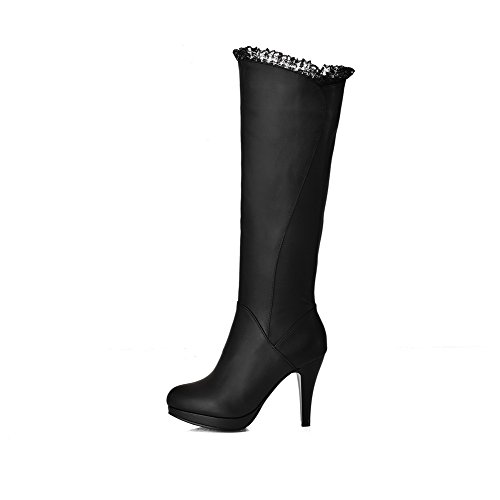VogueZone009 Damen Hoher Absatz Mitte-Spitze Rein Reißverschluss Stiefel, Blau, 34
