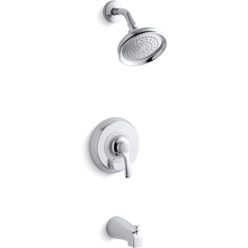 Kohler TS12007-4E-CP Fairfax Rite-Temp Bath and Shower Valve Trim with Lever Handle, Npt Spout and 2.0 Gpm (Fairfax 2 Handle)