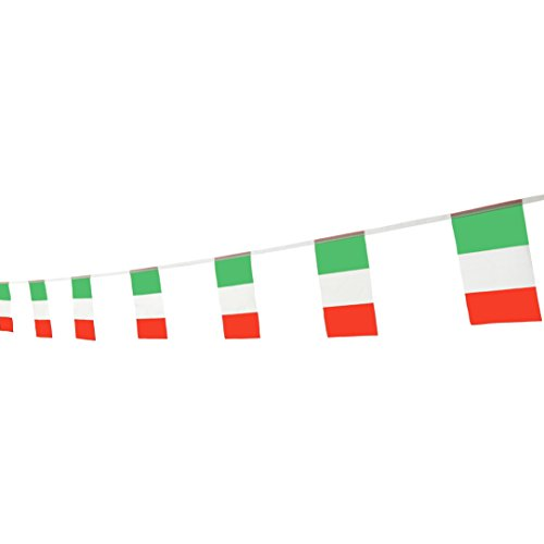 TSMD 100 Feet Italy Italian Flag,76Pcs Indoor/Outdoor National Country Flags Banner String,Party Decorations Supplies For Olympics,Bar,World Cup,International Festival(8.2