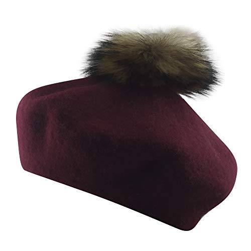 (MINAKOLIFE Womens French Artist Wool Beret Fur Pompom Hats (Wine))