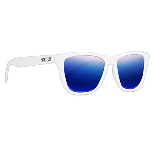 NECTAR Polarized Sunglasses for Men & Women with UV Protection | Over 20 Styles (White Frames | Blue Mirror EuphoricHD Polarized Lenses)