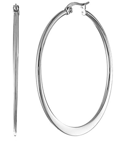 Stainless Steel Flattened Hoop Earrings