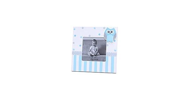 Lote 10 Portafotos Cuadrado Con Motivo Buhos Azul - Portaretratos, Marcos Fotos Bautizos Originales: Amazon.es: Bebé