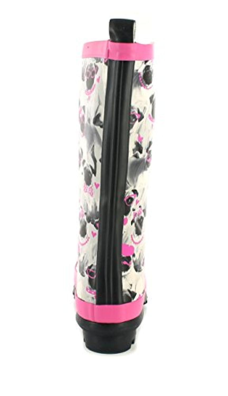 New Girls/Childrens Grey/Pink Cute Pug Print Wellington Boots - Grey Pug Print - UK SIZE 1