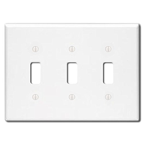 Triple Faceplate - Leviton 88011 3-Gang Toggle Device Switch Wallplate, Standard Size, Thermoset, Device Mount, White