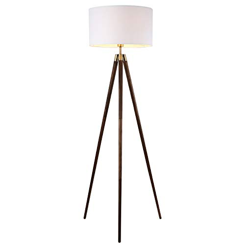 - Light Society Celeste Tripod Floor Lamp, Walnut Wood Legs with Antique Brass Finish and White Fabric Shade, Mid Century Contemporary Modern Style (LS-F233-WAL)