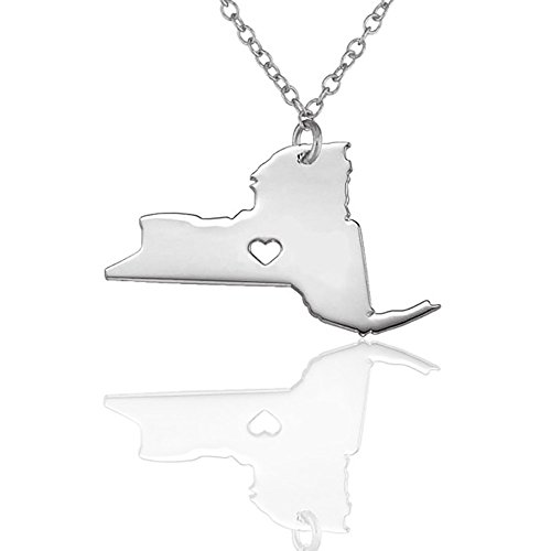 Meiligo 18K Gold Silver Country Map Charm Pendant New York State Map Necklace Jewelry