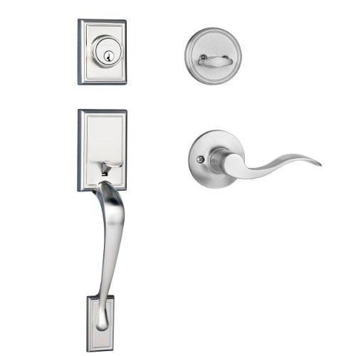 Dynasty Hardware RID-HER-100-15L Ridgecrest Front Door Handleset, Satin Nickel, With Heritage Lever, Left Hand