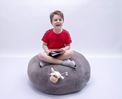 Kroco Luxury Edition Stuffed Animal Storage Plush Bean Bag Chair Cover - Toy Storage Beanbag - Replace Boxes, Mesh Toys Hammock Net - Store Costume, Blankets/Pillows Too - 38´´Grey, Plush -