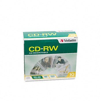 Verbatim® CD-RW Rewritable Disc DISC,CDRW,4X,80,SC,10/PK (Pack of8) by Verbatim