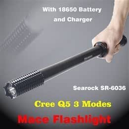 SR-6036 3 Modes Cree Q5 Bright LED Lengthened Toothed Club Outdoor Flashlight