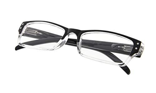 READING GLASSES Spring Hinge Comfort Readers Men and Women Glasses for Reading Black Frame ()
